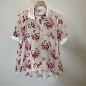 Nanette Lepore-Pink/White floral 1/4 button blouse